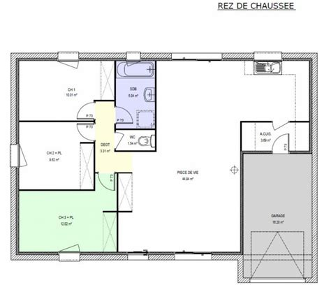 plan maison 2 chambres lovely gallery of plan maison plain pied 2 chambres