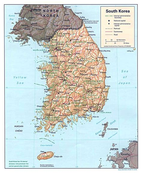 maps  south korea detailed map  south korea