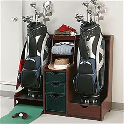 Double Golf Bag Organizer With Practice Green #golfbag