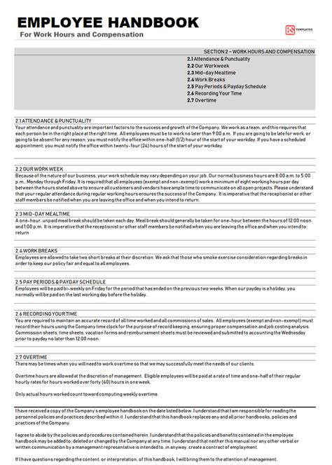 employee handbook template sample word