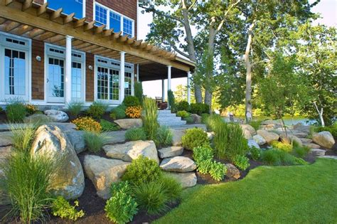 house on hill landscaping lake house webster ma traditional landscape other metro by sallie hill design