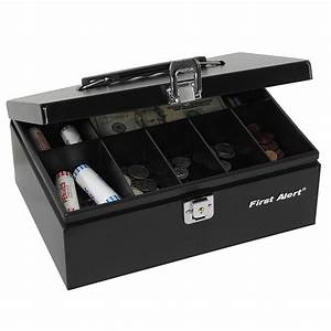 First alert 3020f steel cash box black removable 7 slot for Lock box with slot for documents
