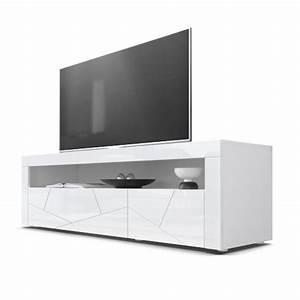 Meuble Blanc Pas Cher : meuble tv bas blanc pas cher ~ Dailycaller-alerts.com Idées de Décoration