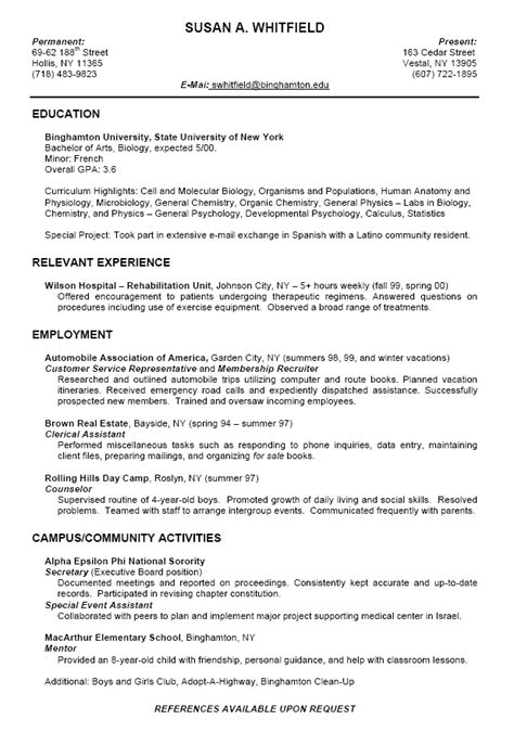 Academic Resume For College by Sle College Student Resume Exles