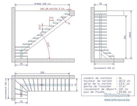 plan escalier quart tournant limon central acier