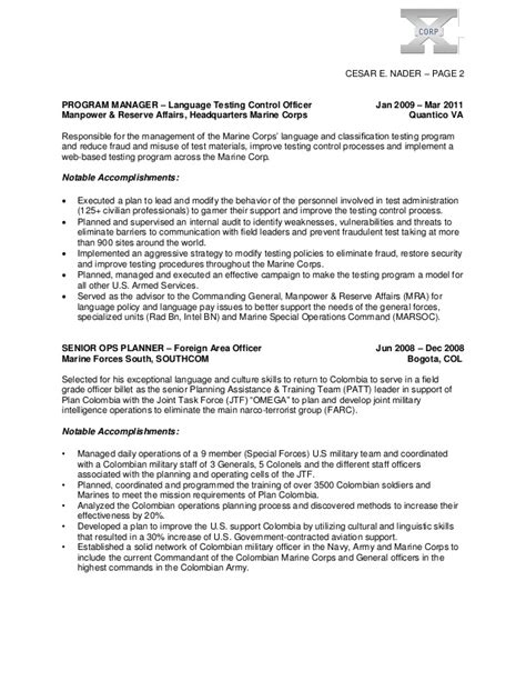Marine Corps Reserve Resume by Cesar Nader Executive Resume V 2013