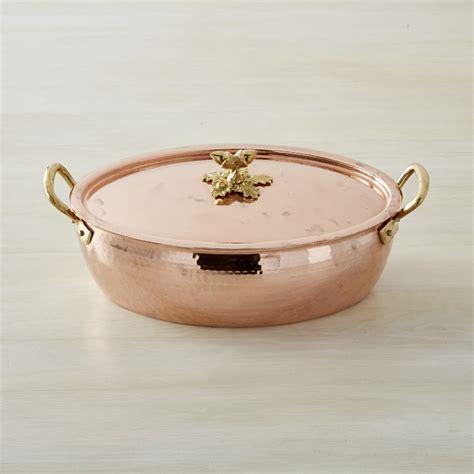 ruffoni historia hammered copper oval roasting pan  acorn knob   qt williams sonoma