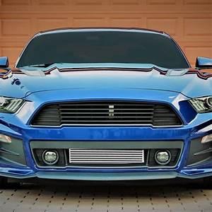 15-19 Ford Mustang 2.3L Ecoboost Bar&Plate Stepped Front Mount Intercooler Black