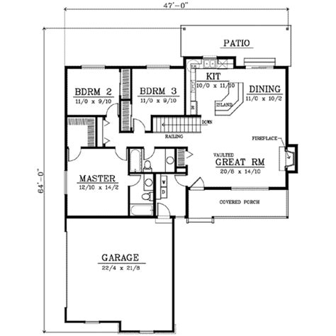 Country Style House Plan 3 Beds 2 00 Baths 1400 Sq/Ft