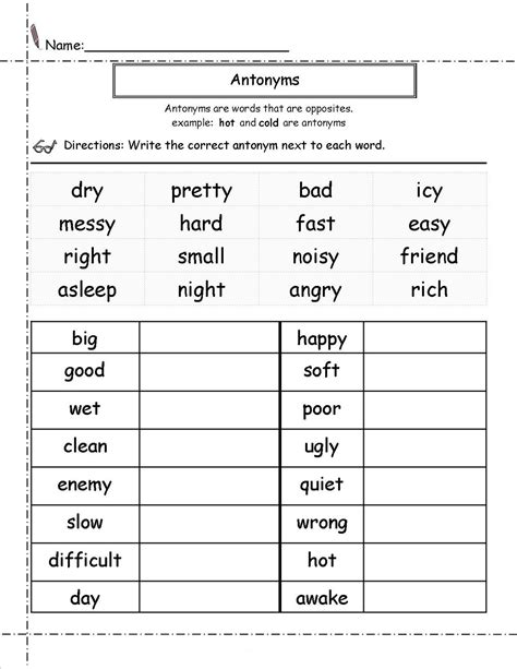 second grade worksheets english antonyms learning
