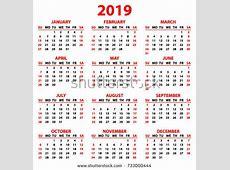Calendar 2019 Year Simple Style White 스톡 벡터사용료 없음