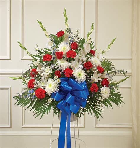flowers  times red white  blue sympathy standing