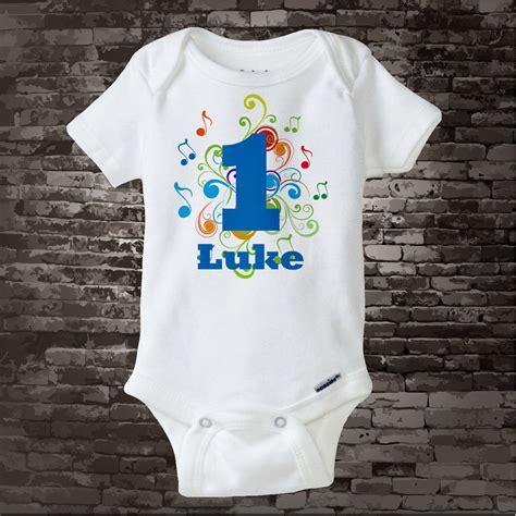 First birthday boy outfit set: Music Themed First Birthday Onesie Personalized Boy'd 1st