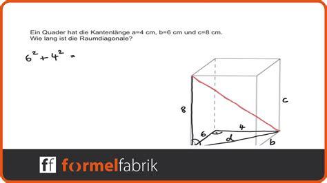 pythagoras raumdiagonale quader youtube