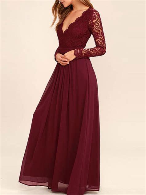 lace bodice burgundy chiffon bridesmaid dressessimple