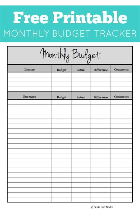 monthly budget printable monthly budget printable