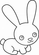 Bunny Coloring Clip Clipart Line Graphics Sweetclipart sketch template