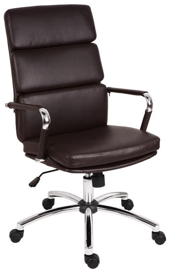 deco brown leather chrome designer executive office chair