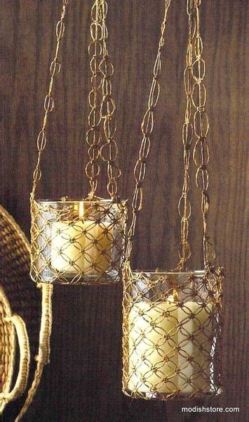 roost macrame hanging glass candle holders set