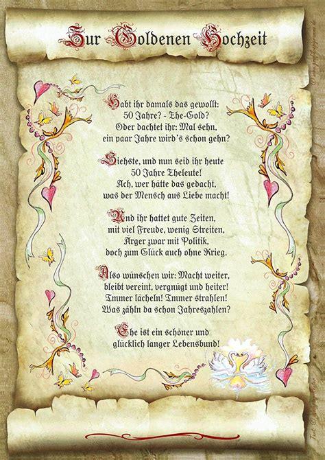geschenk goldene hochzeit urkunde gedicht praesent jubilaeum