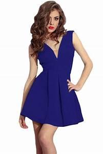 royal blue sleeveless plunge skater dress