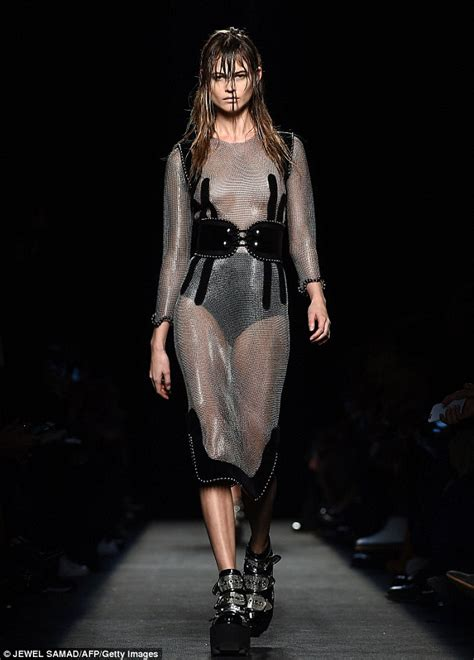 Behati Prinsloo Goes Topless Beneath Dress At Alexander Wangs Nyfw Show Daily Mail Online