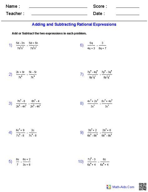 algebra  worksheets rational expressions worksheets