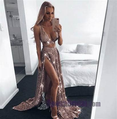 Dresses Prom Gold Sequin Sparkly Evening Rose