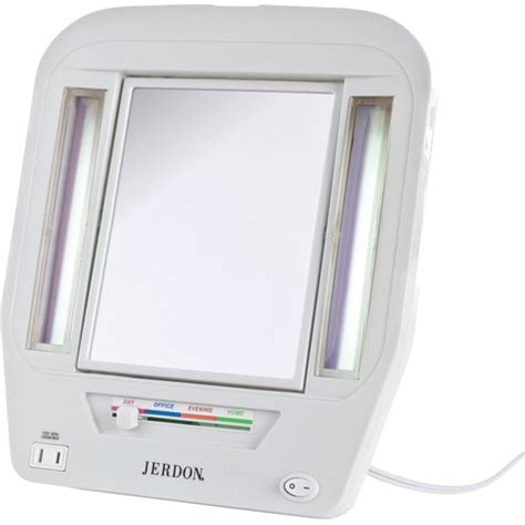 jerdon tabletop 2 sided lighted makeup mirror with 5x