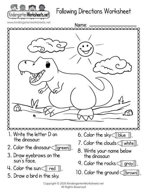 printable  directions worksheet  kindergarten