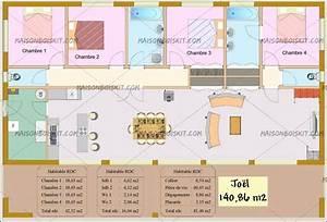 Tarif maison bois moderne 4 chambres au m2 for Plans de maison moderne 4 plan gratuit de maison en bois en kit