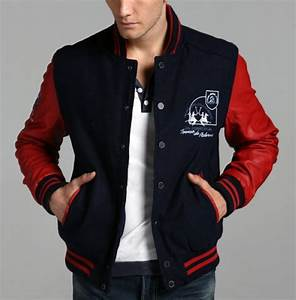 navy red colorblock baseball jacket men 14900 jackets With the letter jacket man