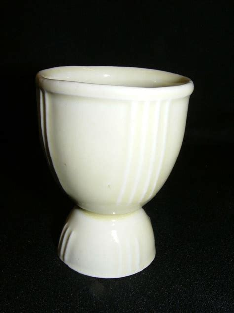 vintage china double egg cup white  vertical lines