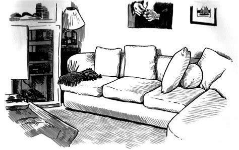 Living Room Cartoon Drawing Sketch Coloring Page
