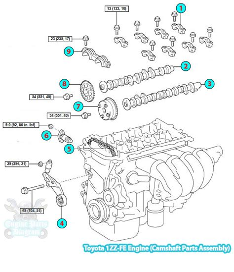 2004 toyota corolla camshaft parts assembly 1zz fe engine
