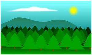 Cool background made of trees, a sun and some clouds. Draw ...