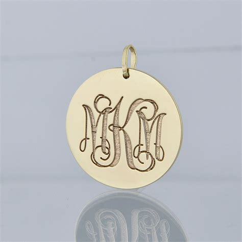 solid   gold deep engraved  initials monogram