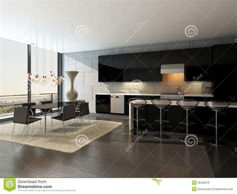 bar de salle a manger int 233 rieur noir de cuisine avec les tabourets de bar et la table de salle 224 manger image libre de