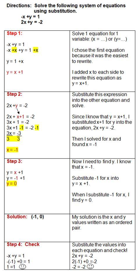 algebra  solving systems  substitution worksheet