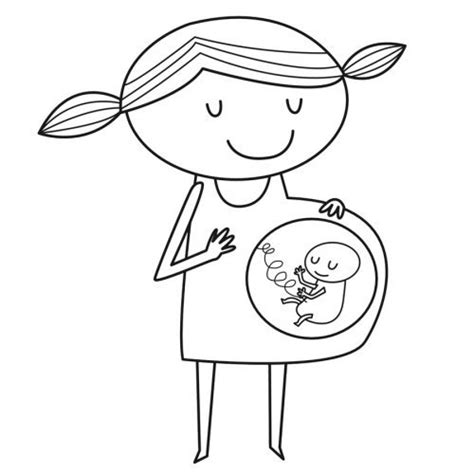 dibujo  imprimir  pintar de una mama embarazada
