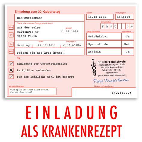 einladungskarten zum geburtstag als aerztliches rezept arzt