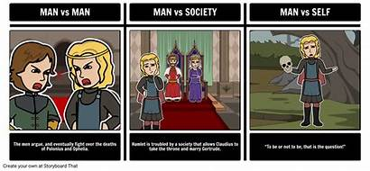 Hamlet Conflicts Conflict Literary Shakespeare Storyboard William