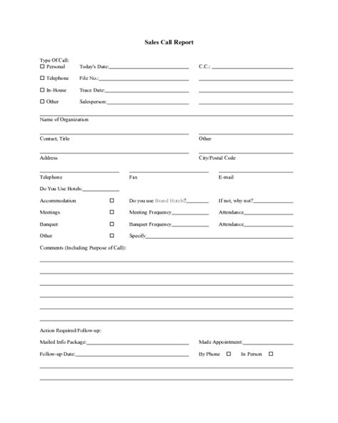 sales call report template fillable printable