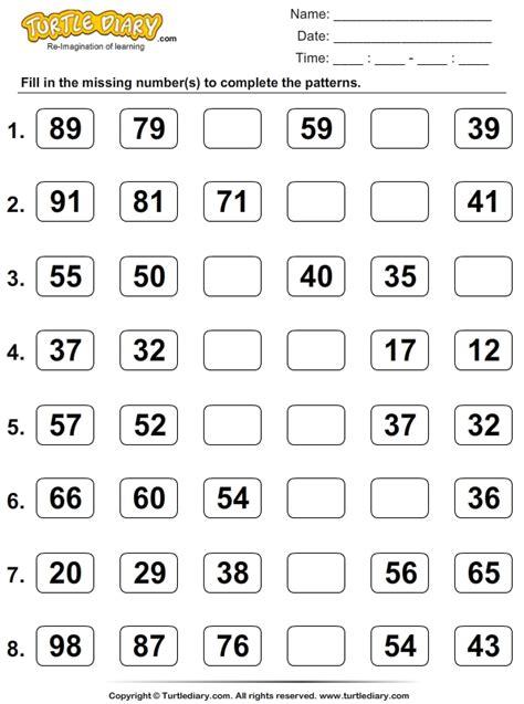 complete  patterns  skip counting worksheet