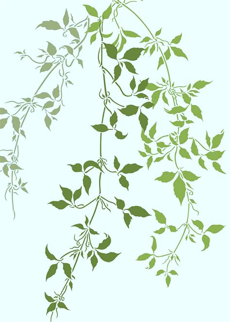 trailing clematis leaves theme pack stencil henny