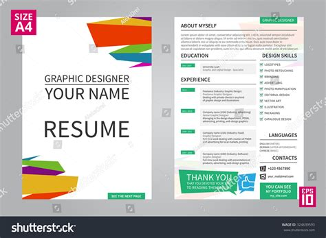 vector minimalist cv resume template for graphic