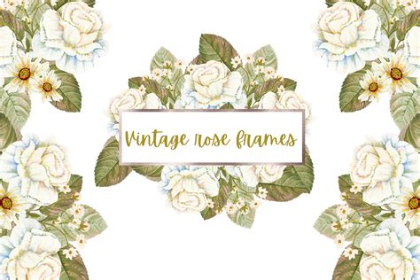 vintage rose frames  illustrations  yellow images