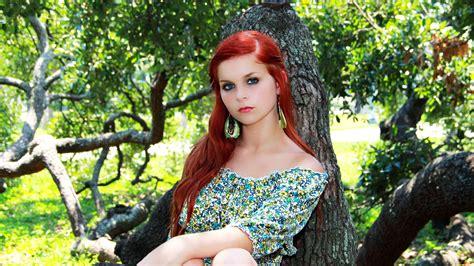 Women Face Redhead Trees Look Blue Eyes Wallpaper