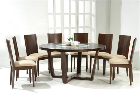 Modern Round Dining Table For 8 With Foamy Seats   Decofurnish