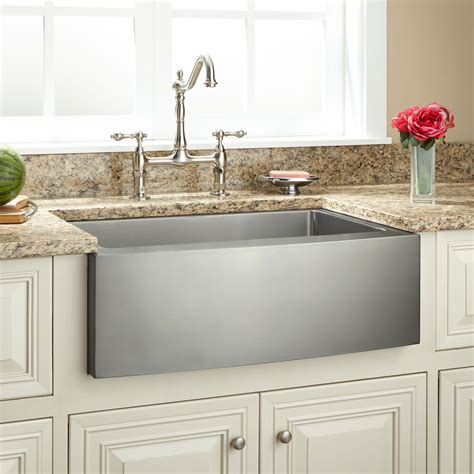 "30"" Optimum Stainless Steel Farmhouse Sink  Curved Apron"